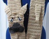 Adult Size Great Dane Scarf with Floppy or Pointy Ears Crochet Pattern