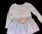 Boutique Monogrammed BIG SISTER OUTFIT in grey chevron and pink  polka dots.. girls clothing..short sleeves only