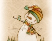 Print of my Original Folk ARt , Holiday, Snowman Painting - Hello Bluebird