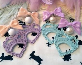 Romantic Sweetheart Earrings in Lilac or Blue