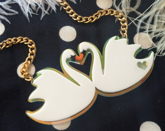 Swans in Love Acrylic Necklace
