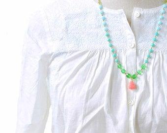 True Pink Quartz Necklace , Gemstone Necklace, Pink Quartz, Layering Necklace