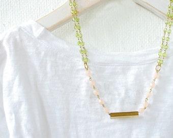 Modern Bar Pink Blush and Moss Bead Strand Necklace