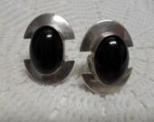 Vintage Sterling Silver & Black Onyx Oval Earrings Clip Back