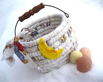PAPER MOON  textile art BASKET tote Bucket