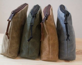 WAXED CANVAS - Unisex Zippered Pouch, Clutch, Gadget Bag, Toiletry Bag, Cosmetic Bag - Padded and Weather Resistant - Choose your Color