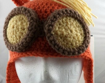 Crocheted Pony Aviator's Helmet in Orange with Medium Brown and Yellow Goggles and Hair (made to order)