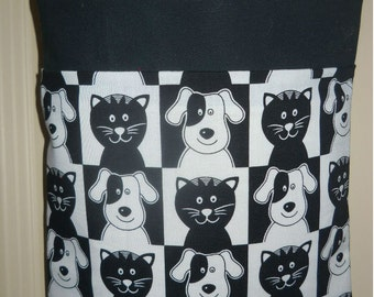 Auto trash bag, Car Litter Bag, black and white dogs and cats