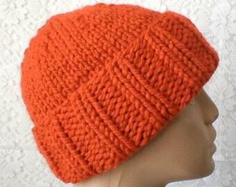 Watch cap, pumpkin orange, brimmed beanie hat, beanie hat, orange hat, ski snowboard, bulky knit toque, chemo cap, mens womens hat, hiker
