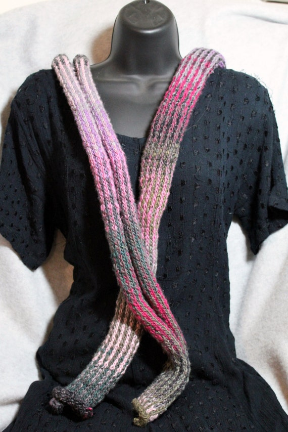 Vertical Striped Scarf Knitting Pattern : Azaleas Vertical Striped Scarf
