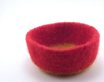 Felted wool bowl - felted basket - red and gold