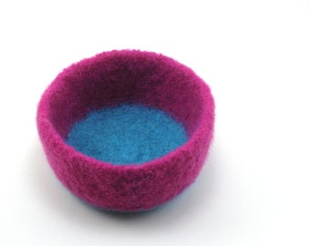 Felted wool bowl - wool felt bowl - office decor - magenta and aqua