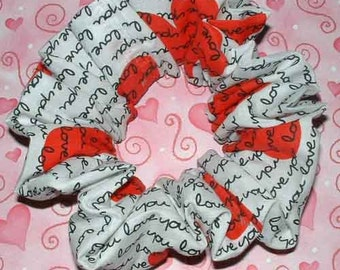 Heart Themed Hair Scrunchie, Hair Tie, Fabric Ponytail Holder, Love You