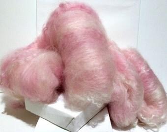 """Pink spinning batt, fiber art batt,needle felting wool,nuno felting wool, spinning fiber, """"Pinkaboo"""", pink, white, cotton candy pink, mauve"""