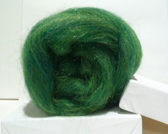 Green Felting wool,spinning fiber roving, Firestar, pine, evergreen,  green, forest, Christmas, St. Patrick, Easter basket, holiday decor