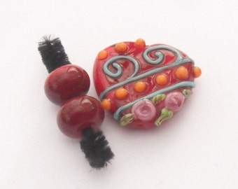 Lampwork Scroll Flower Heart and Spacers, Artisan Handmade SRA LETEAM Glassymom