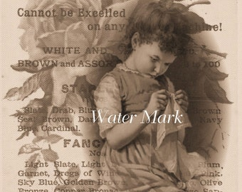 Canvas Paper Print*Little  GIRL  sewing* Roses *Thread ad collage sepia*Sublime*Victorian*Stunning*8x10 inches*Free shipping in the USA