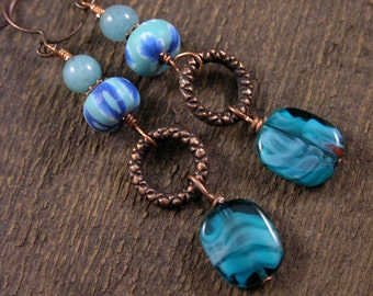 Turquoise blue czech glass beads, polymer clay, amazonite stone and copper handmade earrings