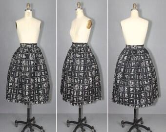 1950s skirt / novelty skirt / car / CARAVAN vintage skirt