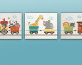 Set of 3 Jungle,Safari Animal Train Nursery Art Prints, Choo Choo,  Elephant, Giraffe, Monkey, M2M crib bedding set.