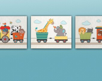 Set of 3 Jungle,Safari Animal Train Nursery Art Prints, Choo Choo,  Elephant, Giraffe, Monkey, M2M crib bedding set.