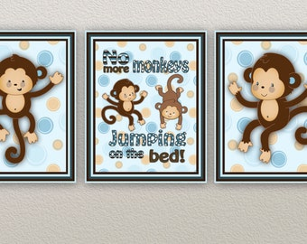 Set of 3 monkeys jumping on the bed prints in Blue and Brown