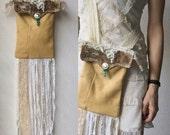 Vintage Deerskin Boho Hippie Leather Bag with Lace Fringe