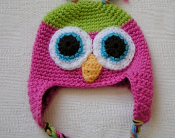 Owl Hat for Baby  Crochet  in Pink  and Lime Green size 3 to 6 months Ready to Ship