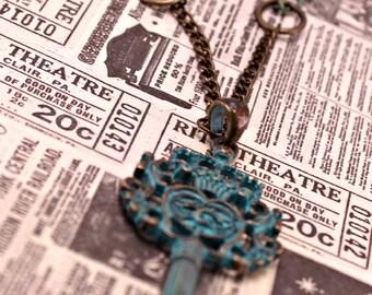 Steampunk Skeleton Key Necklace Pendant  on 24 inch Brass Chain
