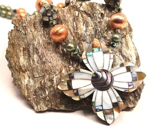 LAST ONE Shell Cross Necklace Abalone Mother of Pearl Copper Fancy Mosaic Inlay Swarovski Iridescent Green Ocean Southwestern Beach Wedding