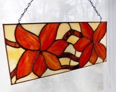 Stained Glass Tangerine and Copper Floral Window