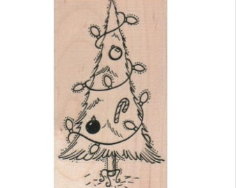 Christmas tree Rubber stamp Santa Claus Is Coming   family decorating tree 12813 stamping