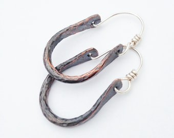 Sterling Silver and Copper Earrings - Hoop Earrings - Mixed Metal Earrings - Textured and Patina'd
