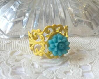 Yellow Ring Yellow Blue Flower Ring Bright Yellow Flower Ring Bright Blue Ring Blue Floral Ring Blue Flower Ring Yellow Blue Floral Ring