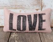 Love  -  Burlap Feed Sack Doorstop - Love Typography Decor - Door Stop