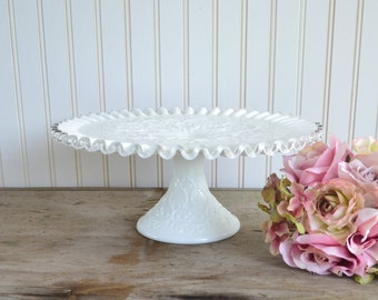 Gorgeous Fenton Spanish Lace Cake Stand with Crimped Edge Milk Glass Wedding