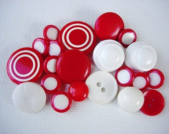 Neat Lot of Various Vintage Red/White Plastic Buttons