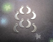 Crescent Moon Tiny Flat Charms 10mm Mirror Image Nickel Silver on Etsy x 4 Pair