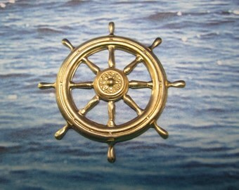 Ships Wheel Nautical Stamping Large Brass Jewelry/Steampunk on Etsy x 1