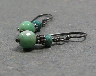 Mint Green Earrings Chrysoprase Earrings Oxidized Sterling Silver Earrings