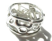 Sterling Silver Abstract Ring, Size 10.5