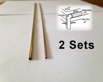 Solid Brass BOX HINGES - Tube Hinge for Boxes - 2 sets (4 pieces) 2 inner and 2 outer tubes