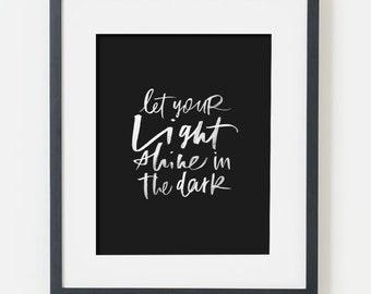 framed 8x10 print / light shine, white on black / choice of black, white, natural or gold frame