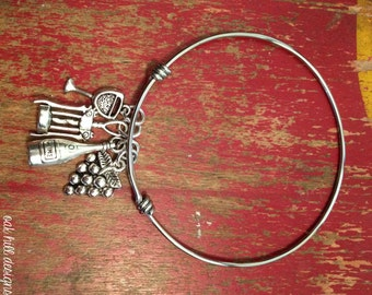 wine bangle bracelet-adjustable bangle bracelet-wine charm bracelet