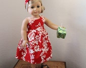 SALE 18 inch American Girl Doll Holiday Dress and headband, red