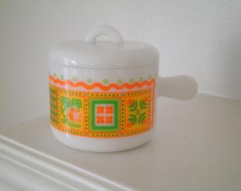 Vintage Avon Funky Retro Patchwork Quilt Pattern Milk Glass Cream Jar Trinket Dish / Pot with Lid / Jewelry Storage Kitschy gift