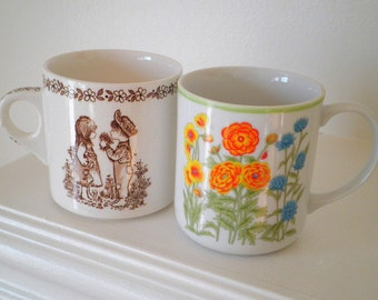 Vintage Royal Crownford Ironstone England Cute Kids and Funky Flowers Coffee Mugs, Set of 2 - Circa 1970s