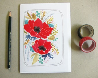 Greeting Card - Floral Card - Card for Mom - Flower Stationery - Poppy Card - Thank You Card - Birthday Card - Blank Note Card - Poppies