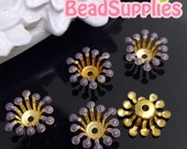 FG-EX-08003P- Nickel Free, Raw Brass, Flower bud beadcap, purple 12pcs
