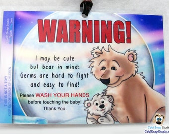 Wash Your Hands Before Touching the Baby Sign, Germs are Easy to Find, Polar Bears Crib Sign, Stroller or Car Seat Tag - SPECIAL PRICE!